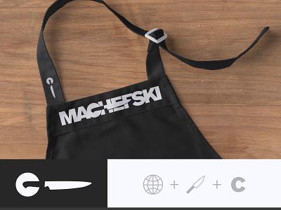 MACHEFSKI — WIP minimalist chef c knife negative space wip design logo