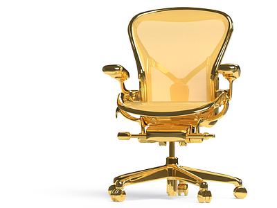 GOLDEN AERON product render gold loyalbrand modernist design herman miller aeron