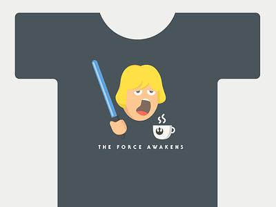 Luke Wakeup Tshirt coffee tired lightsaber jedi luke skywalker starwars force awakens