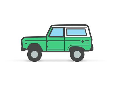 Bronco truck car illustration icon vintage suv 4x4 ford bronco