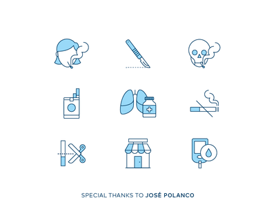 Lung Cancer Icons medical lungs cigarette cigar tobacco care health medicine disease lung cancer icons
