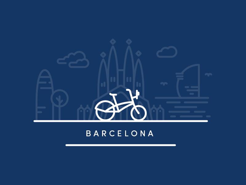 Barcelona city sagrada familia illustration city spain bike icons bcn barna barcelona