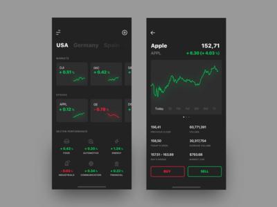 Stocks market app concept
