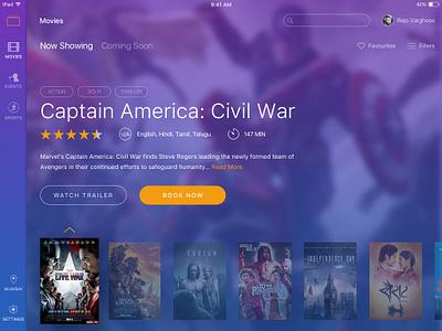 BookMyShow iPad App entertainment ux ui ipad ios ticketing events movies