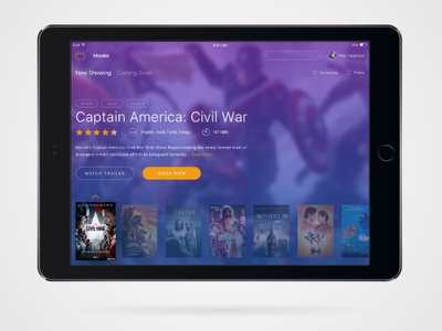 BookMyShow iPad App entertainment ux ui ipad ios ticketing events movies
