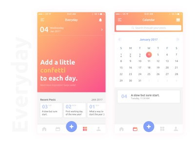 Everyday | iOS App Concept notes home memories landing ux ui app ios journal daily diary
