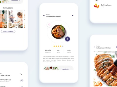 Food Recipe Screens white minimal clean ui ios food app food