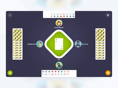 Contract Bridge   Web Game Room UI interaction animation browser desktop game ui game ui