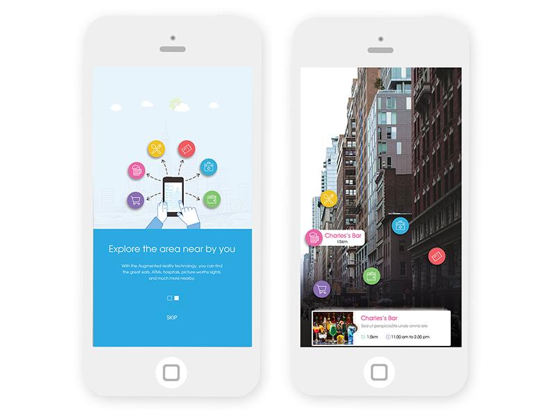NearBy AR screens branding ux app vector icon ui design logo illustration augmented reality ar