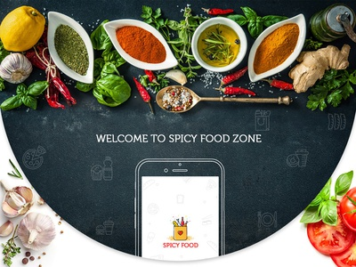 Spicy Food Zone grocery food ux app branding typography ui design logo grocery delivery food ordering landing page