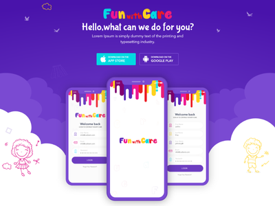 Fun With Care web vector ux ui typography daycare app babycare app logo icon design branding app