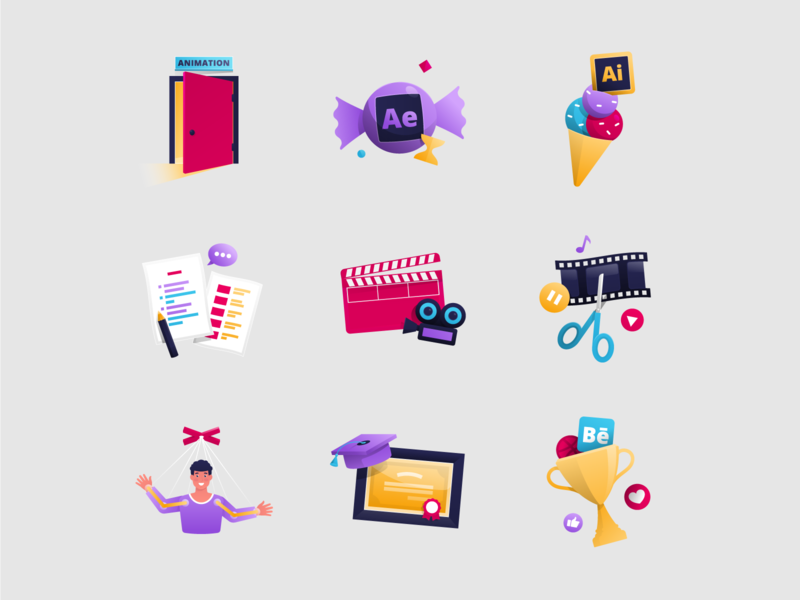 Icons character animation motion design video editing filmmaking montage explainer video animation vector adobe illustrator illustration