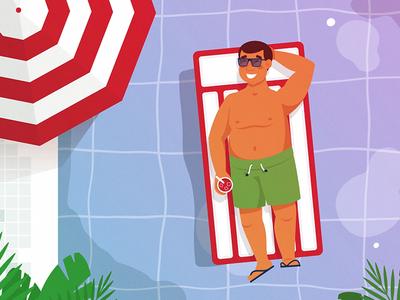 Summer Time swimming chill summer pool animation character design explainer video vector adobe illustrator illustration