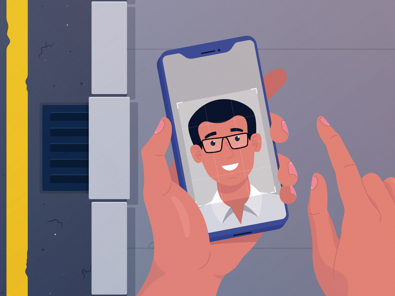 Phone & Hands face hands phone portrait character design explainer video animation adobe illustrator vector illustration
