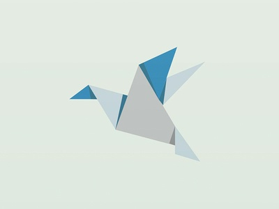 Origami Bird creative art tan fold origami blue paper grey 2d illustrator illustration vector