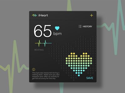 Heart Rate Monitor Concept layout button gradient card ux ui mobile illustration icon flat design app