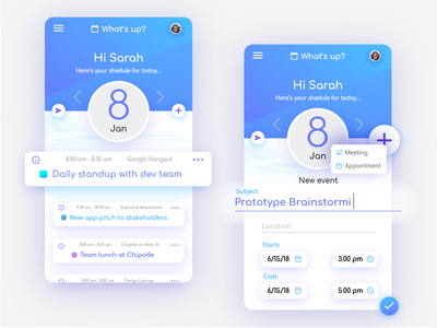 Schedule App: Whats Up? identity branding icon color ux ui product mobile interface design application app