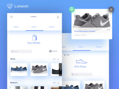 Concept Listwish wishlist icon color ux ui product mobile interface design application app