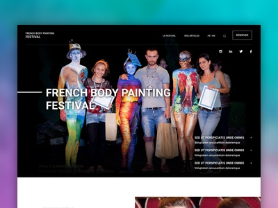 Body Painting Festival - Landing page landing body painting festival visual design simple minimalistic photography elegant clean webdesign uxdesign design