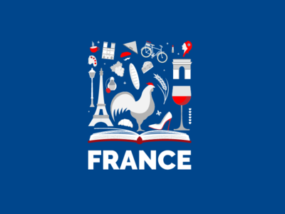 Douce France europe illustration monument culture france logo icon