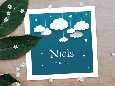 Baby boy's birth announcement :) print blue clouds illustration birth card announcement birth baby