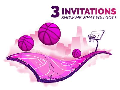 3 Dribbble Invit ! dribbble new player invitation dribbble invite invite