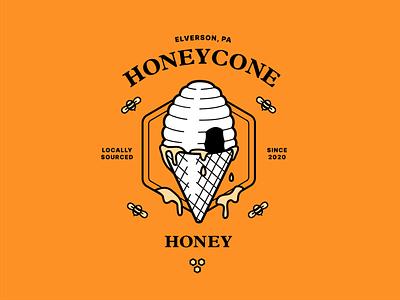 Honeycone Honey Label illustration packaging honeycomb honeycone cone bees label honey