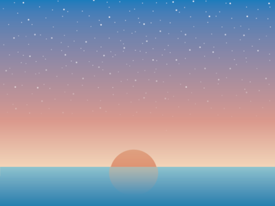 Still Waters sky reflection illustration flat sea stars water ocean sunset