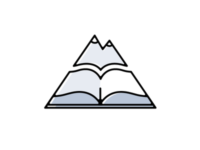 Chapter Quest Logo Concept triangle pages book mountains logo quest chapter