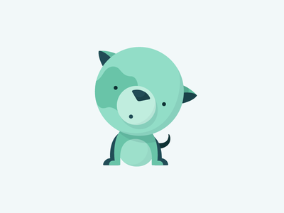 Guilty Pup cute pup illustration animal shadow flat green puppy dog
