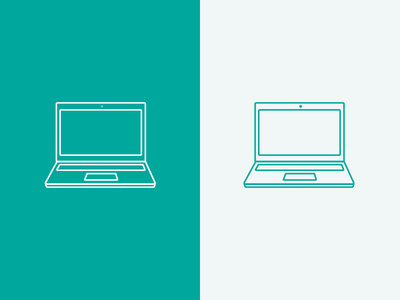 MacBook Icon teal green inverted lines stroke icon apple macbook