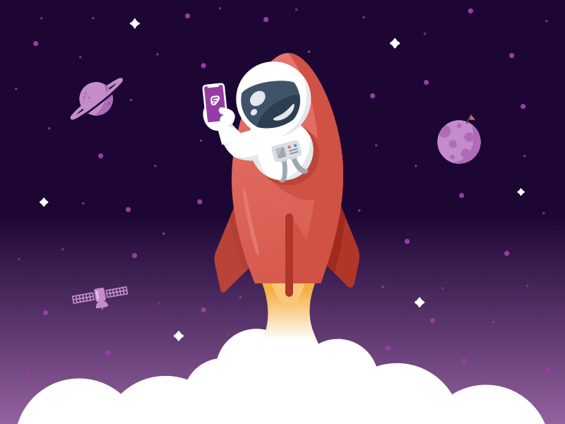 """Work Without Limits"" Welcome Screen Concept purple illustration take off iphone app rocket satellite saturn moon planet astronaut space"