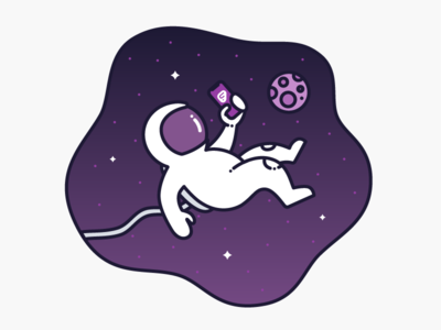 """Work Without Limits"" Illustration Concept #2 space man floating space astronaut moon app iphone illustration purple"