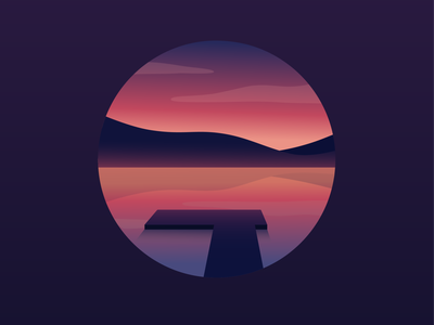 Lakeside Sunrise landscape color logo icon vector design flat gradient purple pink hills mountains water dock lake sunrise sunset illustration