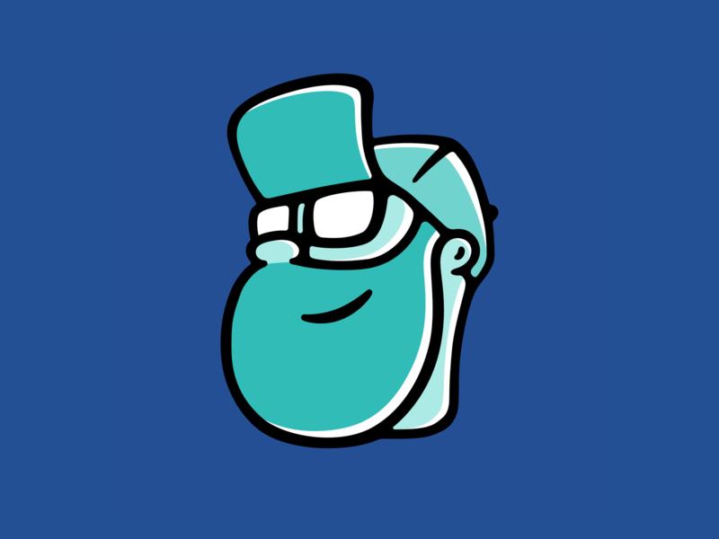New Avatar illustration smile baseball cap hat glasses blue teal offset self portrait avatar