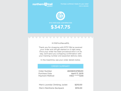 Order Confirmation Email Design by Malena Zook - Dribbble