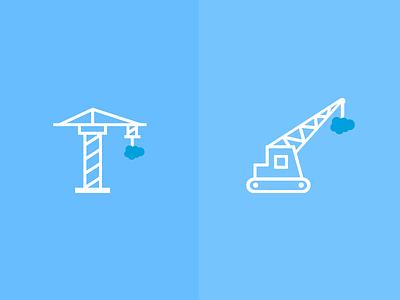 Crane Illustrations line icons branding equipment blue data move builder construction crane illustration icon