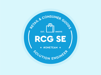 Retail & Consumer Goods Team Logo circle lines label badge blue shopping solutions engineering consumer goods retail identity logo