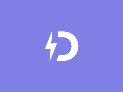 Demo Builder Icon letter d demo tool identity brand logo lightning bolt bolt lightning purple icon