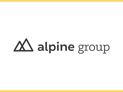 Alpine Group Logo consumer goods mountains black yellow identity branding alpine logo