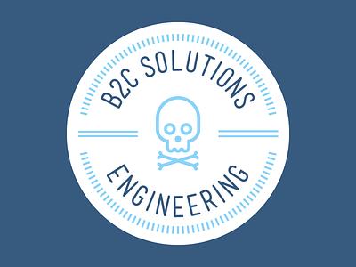 B2C Solutions Engineering Logo blue identity branding solutions engineering se b2c skull and crossbones skull logo