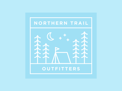 NTO Line Illustration badge nto square trees blue flat linework branding camping nature outdoors line illustration