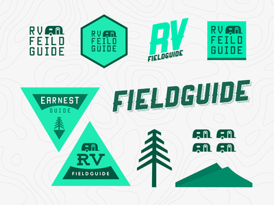 RV Field Guide Brand Elements camping outdoors badge ideas logo field guide rv branding