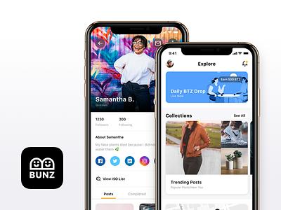 Bunz iOS App home profile icon logo bunz app iphone xs iphone x ux ui clean minimal