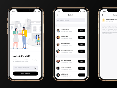 Invite Contacts bunz ios crypto currency crypto iphone xs iphone x iphone app illustration ux ui clean
