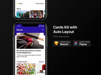 Coming Soon: Card UI Kit Download figma sketch download mockup download cards card ui kit ux ui