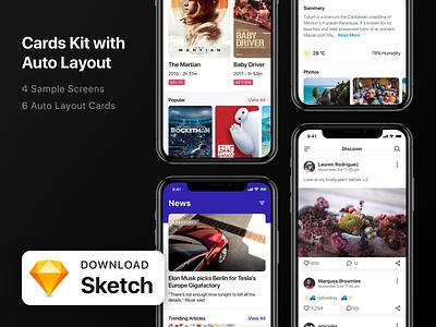 Card Kit with Smart Layout Sketch v1.1 smart app sketch sketchapp ux ui kit ui card cards cards ui download mockup download free freebie