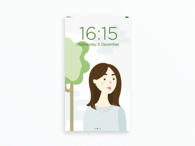 🌿 👩🏻 iphone mobile background wallpaper green nature portrait graphiste women colors girl illustration