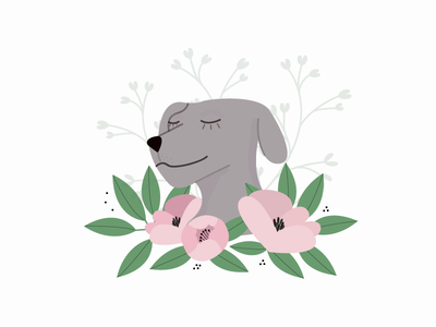 Dog's year pink color flower chinesenewyear newyear happynewyear dogyear dog graphisme colors illustration