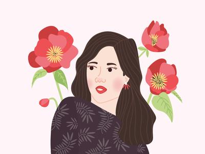 I like to feel his eyes on me when i look away flower flowers hair portrait graphisme women colors girl illustration